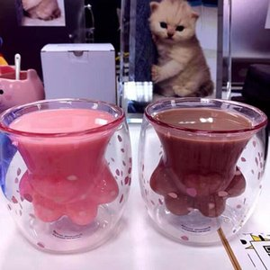 Cat Toys Glass Paw Starbucks Cat-claw Coffee Mug Cup Starbucks Wholesale Eeition Double Pink 2019 Mug Sakura 6oz Foot Limited Wall Cat Arnu