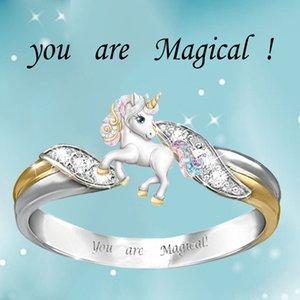 2020 Yeni Stil Sen Sihirli Halka Güzel Unicorn iki sesi Kaplama Şeffaf Kristal Band Yüzük İçin Nişan Düğün Fabrikası Wholes Satış vardır