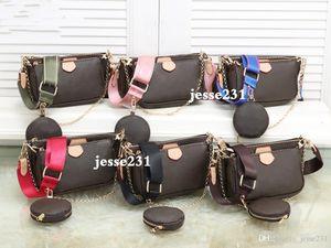 Femmes sacs à main sacs à main de luxe 3pcs accessoires préférés pochette sac Crossbody sacs à bandoulière en cuir m44823 vintag oxydant 6 sangles de couleurs