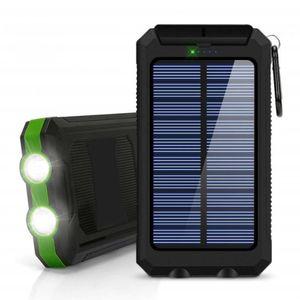 20000mAh Solar Power Bank Dual USB powerbank Waterproof Battery External Portable Charging with LED Light 2USB powerbank