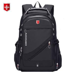 Oxford suíço de 17 polegadas Laptop Backpack Men carregamento USB Bolsa Escola Waterproof Viagem Backpack Mulheres Mochila Masculino Vintage mochilaMX190905