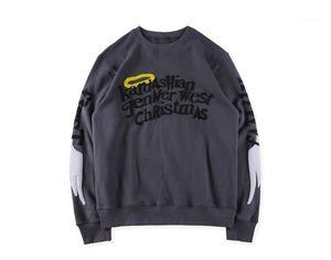 Hoodies Mens Teenager Entwerferhoodies-Kanye Sweatshirts Flügel Graffiti O-Ansatz Frühling Herbst Herrenkleidung KIDS SEE GHOSTS