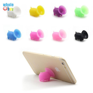 100pcs lot Universal Silica Gel Multi Color cartoon Pig Sucker Stand Holder lazy bracket for Cellphone Tablet Accessory Free Shipping
