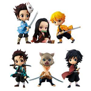Démon Slayer Kimetsu pas Yaiba Q posket Kamado Tanjirou Nezuko Zenitsu Giyuu Inosuke PVC Figure Modèle Collection Doll Jouets B1