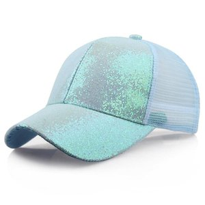 Nueva gorra deportiva para mujer Cabello desordenado Gorra neta Deportes ajustables Hípica Flash Ponytail Tenis