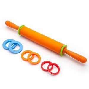 Rolo Forma-Non-Stick de silicone Rolo da massa de pão com anéis de espessura ajustável com dois milímetros três milímetros de 6 mm e 10 mm anéis ajustáveis