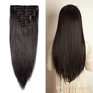 Double Weft Clip In Hair Extensions 100% Real Virgin Thick Full Head 7 Pieces Straight silky 7pcs 16clips 70g Black Color Angelawigs