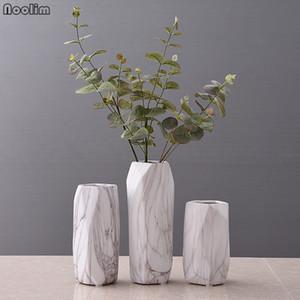 NOOLIM 1pc Marbled Design Vase Geometric Shaped Flower Vase Ceramic Home Decor Craft Porcelain Hydroponic Container