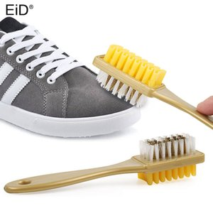 2 Side Shoe Brush for Cleaning Boot Suede Nubuck Shoes Cleaner Gold Handle Rubber Eraser Brushes Polish Polishing Accessories