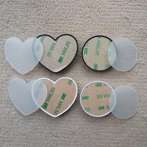 A forma di cuore Holder rotonda del telefono cellulare con Groove acrilici in bianco Film sublimazione Inserisci per Custom Personalizzato Grip Phone Holder stand Monte