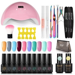 ROSALIND Gel Nail Polish Set For Manicure Set nail art UV LED lamp Manicure Extension Gel Base Top Coat Polygel Kit