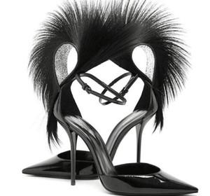 Летом 2019 года новые туфли на шпильках с острым носом модные взрывы сандалии из перьев сексуальные подиумы все матч пряжка обувь