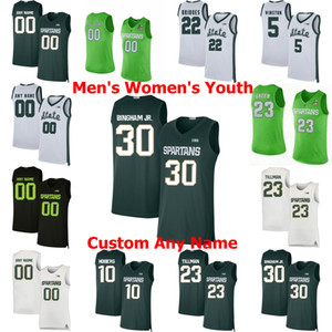 Michigan State Spartans College Basketball Jerseys Kyle Ahrens Jersey Joshua Langford Cassius Winston Aaron Henry Xavier Tillman personalizado