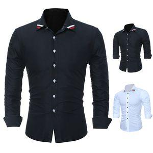 Mens Moda Camisas Slim Fit longos da luva cor sólida shirt Casual Vestido social Tops Plus Size