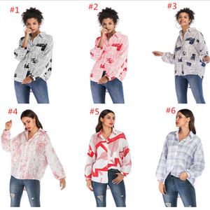 Newspaper Letter Print Blouse Women Long Sleeve T Shirt Spring Autumn Camicia Turn-down Collar Button Shirts Fashion Blouses Tops Clothing