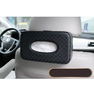 1pc voiture Boîte de rangement tissu tissu cuir Container Facial Box Couverture banquette arrière attache de la dragonne langes pour Home Office voiture (Noir)