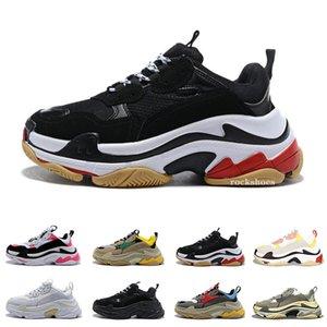 핫 플랫폼 럭셔리 디자이너 신발 트리플의 베이지 색 녹색 노란색 남성 여성 운동화 스니커즈 파리 17FW는 미국 5.5-11 신발을 실행