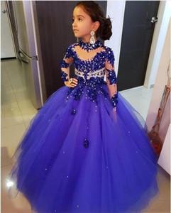 Blu Tulle A Abiti 2020 Sheer maniche lunghe in rilievo Applique del merletto delle ragazze di linea ragazze di fiore Party spettacolo principessa Abiti BC3677