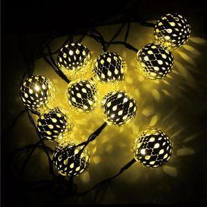 Super helle warme Weiß 10 Bälle / Set marokkanischer LED Lichterketten LED Lichterketten Außenweihnachtsdekoration LED-Lampen-Powered