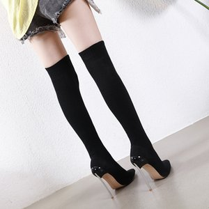 2020Plus size 35 to 40 41 42 sexy elastic slim fit over the knee thigh high boots designer shoes come with box