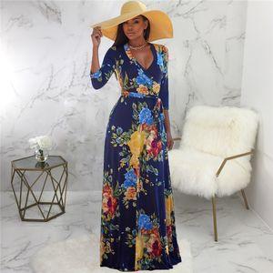 Mujeres Sexy 3D estampado Floral vestido diseñador manga larga Sashes V cuello Big Swing vestidos mujeres moda ropa elegante