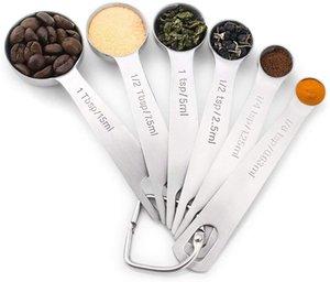 Measuring Set Spoon - acciaio inox misurini Coppe Set 6PCS, cucchiai con gli strumenti Holder D-Ring cucina cucina