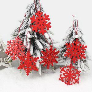 6pcs flocons de neige en bois Creative Pendentifs de Noël Ornements pour Noël Décorations Party Arbre extérieurs pour la maison cadeau enfants