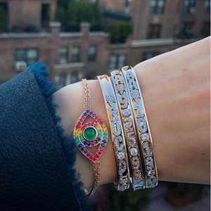 925 sterling silver evil eye pulseira 8 cores arco-íris colorido cz sorte jóias Turca pulseiras de corrente de prata fina link