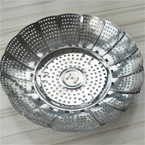 Aço inoxidável Steamer Disc dobrável Lotus Flower telescópico Multifunção Fruit Food Tray vegetais para cozinha que cozinha 3 9HS H1