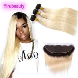 Peruvian Human Hair Extensions 3 Bundles With 13*4 Lace Frontal Silky Straight 10-26inh 1B 613 Ombre Hair Bundles With 13x4 Frontal