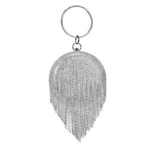 Borsa Donna elegante per i sacchetti di partito / cerimonia nuziale / sera di promenade circolare tote borsa pochette brillanti borsa con nappa