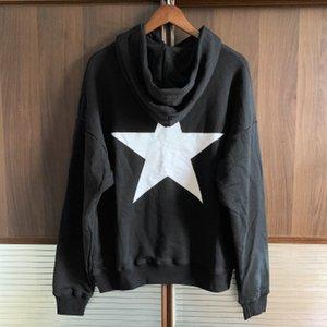 Черный Бежевый Печать флис с капюшоном Толстовки Пуловеры Толстовки Streetwear Hip Hop Punk 20SS Повседневный Tops мужчин