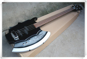Factory Unusual Axe Shape 4 Strings Black Body Electric Bass Guitar with Signature,Rosewood Fingerboard,Chrome Hardware,Can be customized