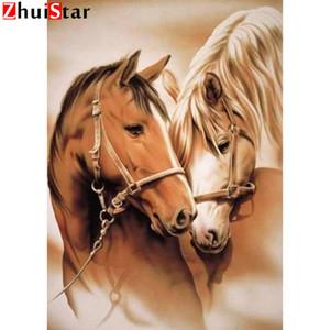 3D DIY diamante Pintura Canva Oil Set diamante bordado retrato animal Pedrinhas Cross Stitch amantes do cavalo XY1 padrão amante