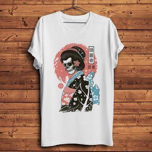 Japão tradicional estilo Ukiyo-E Yokai Geisha crânio tshirt engraçado homme camisa homens short t branco casual tshirt unisex streetwear