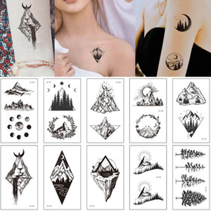 Small Black Body Art Tattoo Sticker Temporary Geometric Mountain Design for Woman Man Arm Ankle Hands Makeup Tattoo Transfer New