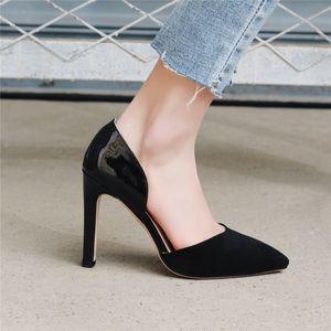 Fashion Retro Concise Dress Office Women Shoes Tacchi alti Lady Thin Heel Pumps Stiletto Black Pointed Toe