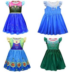 Snow Queen 2 Baby Girl Princess Dress Party enfants cosplay costume enfants Fly manches à volants A-ligne Robes Vêtements pour enfants