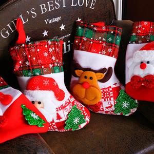 Новый год Декорации для вечеринок Chrsitmas Санта Клаус подарочные пакеты Chrsitmas чулок Дети подарков держатель Xmas Tree висячие украшения AF025