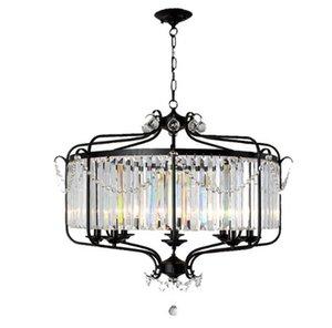 Modern Luxury E14 Gold Black Iron Crystal Glass Led Chandelier accesorios de iluminación para Loft escalera salón baño lámpara LLFA