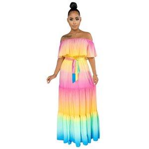 Adogirl Sexy Women Summer Long Dress Off Shoulder Rainbow Stripes Print Dress Butterfly Sleeve Flare Maxi Beach Vestido