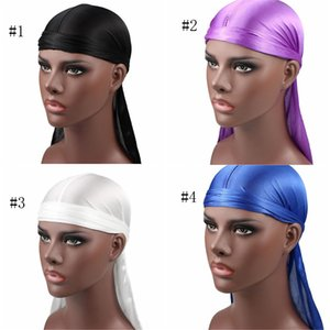 Nuovi uomini di modo raso Durags Bandana Turbante Parrucche Uomini Silky Durag Copricapo fascia Cappello pirata Accessori per capelli HN383
