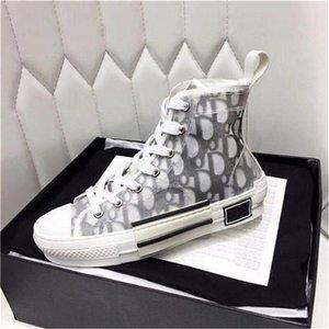 Новый B23 ВЫСОКОГО TOP КРОССОВКИ OBLIQUE Мужских дизайнерской Повседневная обувь Прозрачной Letters Мужчины Женщина Высокая помощь Холст обувь с коробкой SIZE US5-11