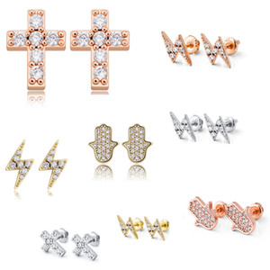 9 Styles for Options 925 Sterling Silver Gold Plated Iced out CZ Cluster Zirconia Light Cross Screw Back Stud Earrings for Men Women