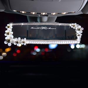 Kızlar Kadınlar Oto Aksesuar Oto Elmas İç Dikiz Aynası Dekorasyon Papatya Çiçek Kristal Araç Dikiz Ayna Bling