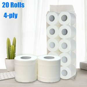 20 Rolls 4-Ply Toilet Paper White Bath Tissue Family Roll Paper Ultra-Soft Tissue for Toilet of Home Cafe Shop Restaurant