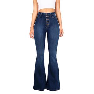 Mulheres Vintage Cintura Alta Stretchy Multi Botão Fit Calças de Brim Flare Ladies Casual Washed Denim Trousers