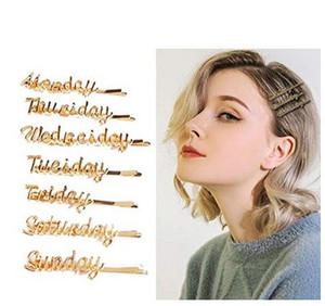 Semaine Barrettes Gold Bobby Pin 7 pièces Clip cheveux Pinceaux géométriques Pinches Lettre Métal Pince à cheveux Pince à cheveux Accessoires