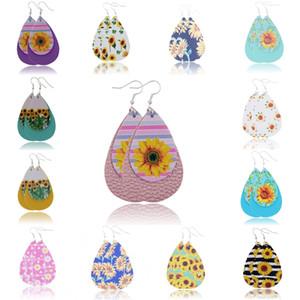 Teardrop orecchino variopinto Sunflower Stampa pelle per le donne moda primavera floreale orecchini gioielli in pelle 19 stili ciondola gli orecchini U73FY