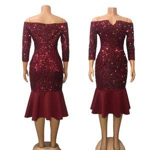 Km nuovi europei e americani delle donne con scollo a V lustrini vestito stretto Stand-Alone Slim Dress